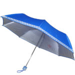 Mono Silver Umbrella with Checked Border