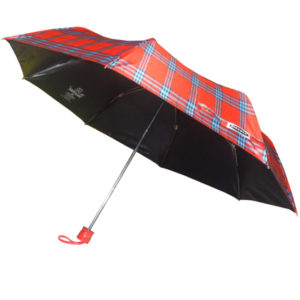 Check Print Umbrella with Black Coating