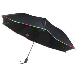 Auto Open Black Umbrella with Piping